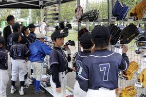 プロ野球選手使用グッズの展示